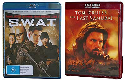 Blu-ray disc, left, and HD DVD