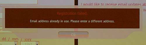 Failed Da Vinci Code registration