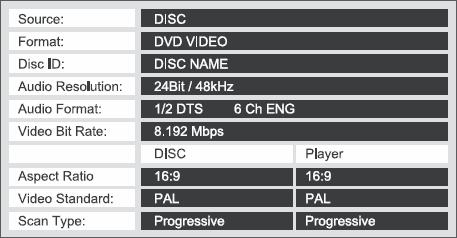 Player Information menu on Harman Kardon DVD-39