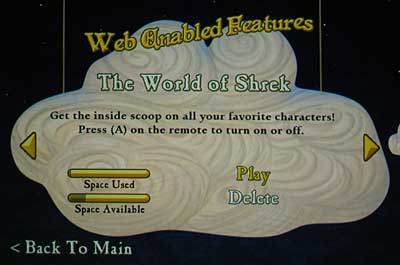 The character biographies Web-enabled feature selection screen on 'Shrek the Third'