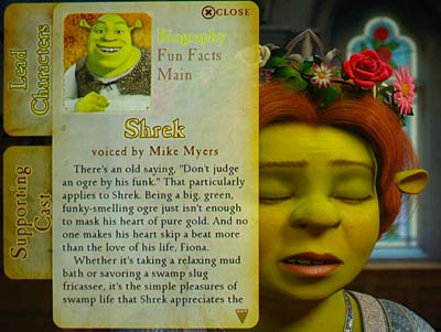 A character biography Web-enabled feature on 'Shrek the Third'