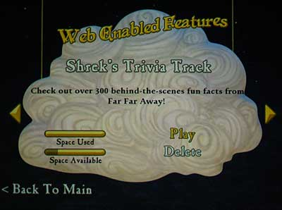 The trivia track Web-enabled feature selection screen on 'Shrek the Third'