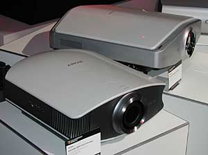 The forthcoming Sony VPL-VW50 projector (front) with the VPL-VW100 at rear