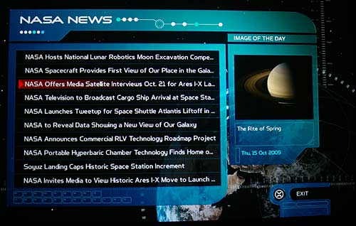 Star Trek BD-Live NASA RSS feed