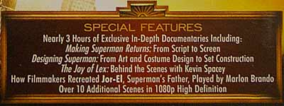 Blu-ray special features for Superman Returns